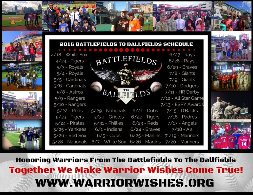 2016 BATTLEFIELDS TO BALLFIELDS SCHEDULE