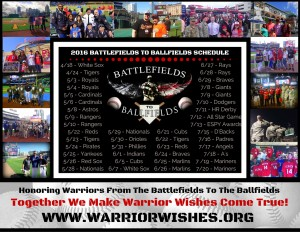 2016 BATTLEFIELDS TO BALLFIELDS SCHEDULE