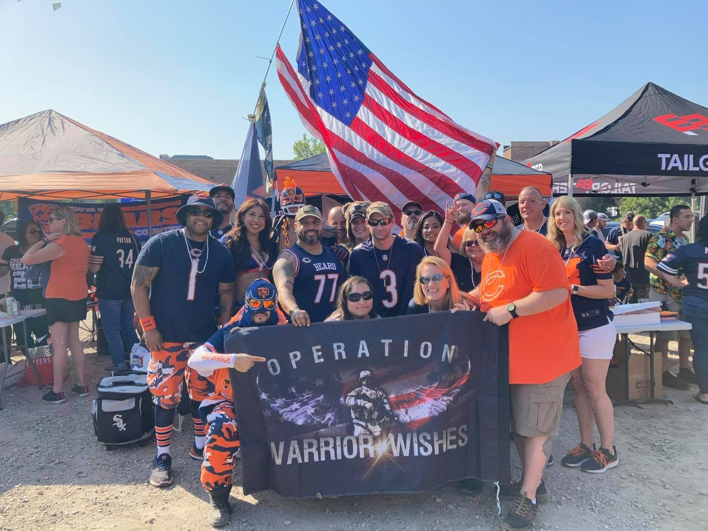 Navy and Marines team up as their wish is granted at a Chicago Bears Game.